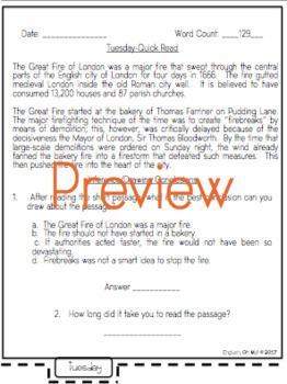Quick Reads {September}-Passages, Reading Comprehension, Reading Intervention