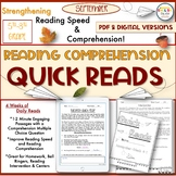 Quick Reads {September}-Passages, Reading Comprehension, R