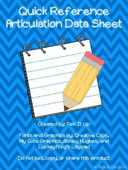Quick Reference Articulation Data Sheet