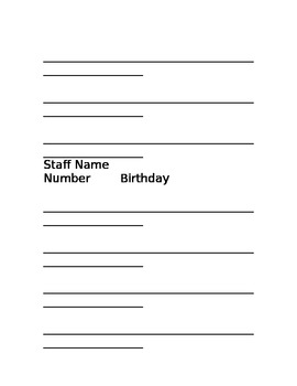 Quick Reference List of Student/Staff/ Substitutes