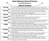 Quick Reference Music Dictionary