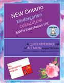 NEW Ontario Kindergarten MATH Curriculum Expectations- Qui