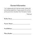 Quick Reference Parent Contact Information
