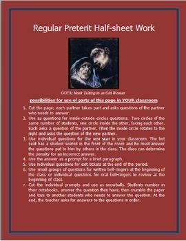 Quick Regular Preterits Worksheet SPANISH