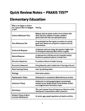 Quick Review Notes: PRAXIS TEST - Elementary Education