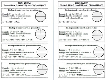 Quick Review: Radius, Diameter, and Circumference