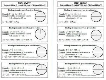 Quick Review: Radius, Diameter, and Circumference