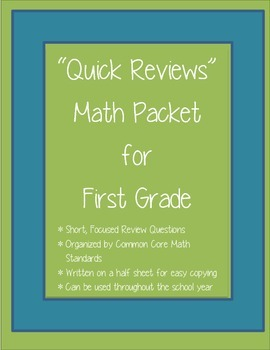 """""""Quick Reviews"""" First Grade Math Packet"""