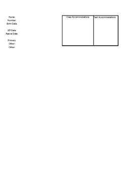 Quick Sheet Template