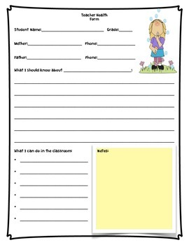Quick Sheet for Teacher with a Student Who has a Health Problem