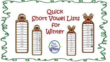 Quick Short Vowel List for Winter