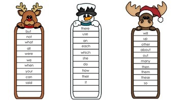 Quick Sight Word  List for Winter