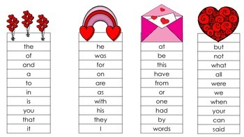 Quick Sight Word Lists for Valentine's Day