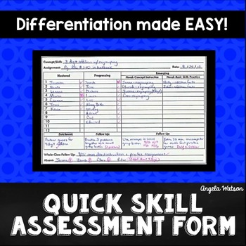 Quick Skill Assessment Form A Simple System For Differentiation