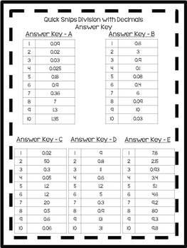 Quick Snips- Division with Decimals- Common Core & TEKS