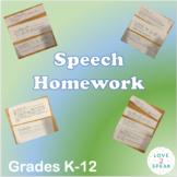 Quick Speech Homework for Language and Grammar