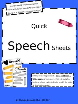 Quick Speech Sheets for Articulation