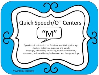 Quick Speech/OT Centers (RtI, Phonics, Articulation, Therapy) - Letter M