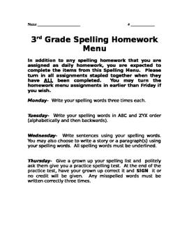 Quick Spelling Homework Menu