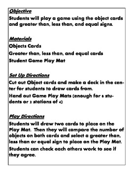 Quick Stations and Centers Common Core Kindergarten ccss.math.content.K.cc.c.6
