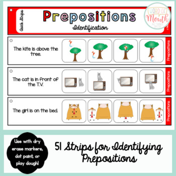 Prepositions Quick Strips
