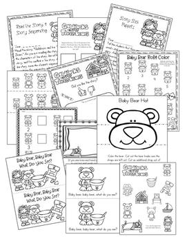 Quick Sub Plans Ready to Go! Goldilocks & the Three Bears Story Based Sub Plans