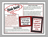 Quick Think! - Creative, Fluency, and Critical Thinking Activity