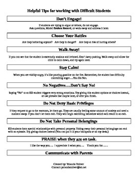 Quick Tips for Working with Challenging/Difficult Students