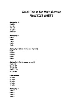 Quick Tricks for Multiplication Practice Sheet