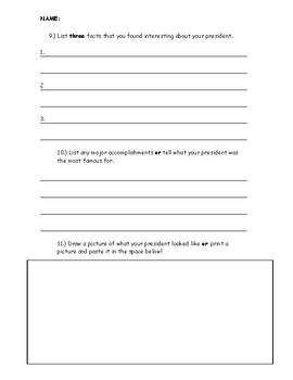 Quick United States President Research Assignment Social Studies Government