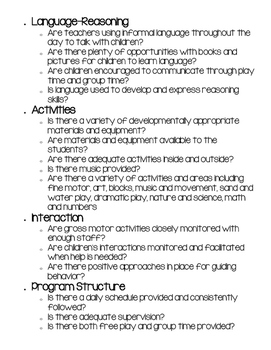 Quick View of ERCER guidelines (checklist for preschool classroom)