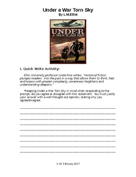"Quick Write & Group Activities to accompany ""Under A War Torn Sky"" by LM Elliot"