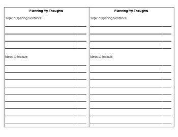 Quick Write Planning Sheet
