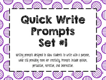 Quick Write Set 1- Prompts for Writing