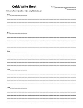 Quick Write Sheets - Bell Work