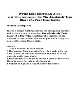 Quick Writing Activity for The Absolutely True Diary of a Part Time Indian