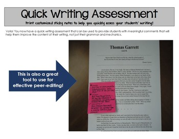 Quick Writing Assessment for Middle School and High School (Grades 6, 7, 8, 9)