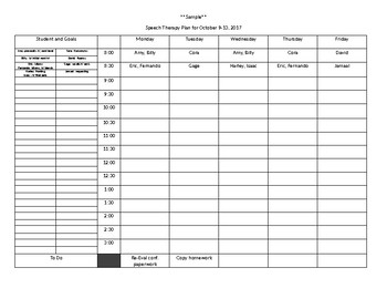 Quick and Basic Speech Therapy Plan and Schedule Template