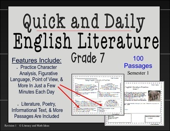 Quick and Daily English Literature (Grade 7) Weeks 1-20