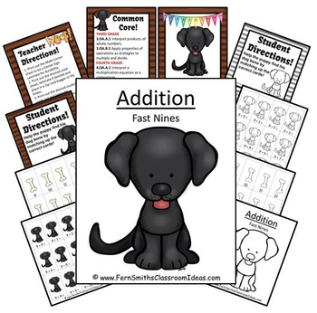 Addition Fast Nines Centers A Quick and Easy to Prep Center and Printables