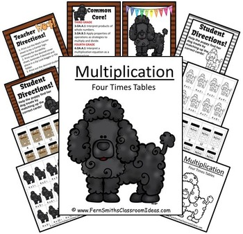 Quick and Easy to Prep Multipliation Center Game Multiply By Four