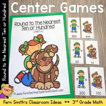 Rounding to the Nearest Ten or Hundred Center Game and Printables