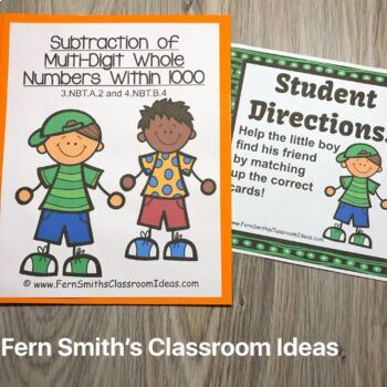 3rd Grade Go Math 1.10 Subtraction Multi-Digit Numbers to 1000 Centers