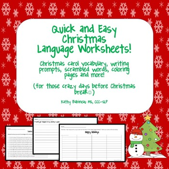 Quick and Easy Christmas Language Worksheets - Updated
