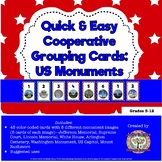 Quick and Easy Cooperative Student Grouping Cards: US Monuments
