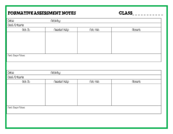 Quick and Easy Formative Assessment Note Template for Teachers
