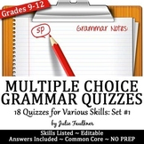 Grammar Quizzes, Multiple Choice, Printable & Digital, VOL