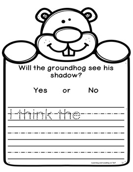 quick and easy groundhog day writing activity/template