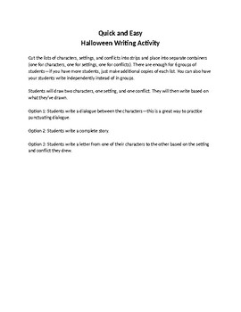 Quick and Easy Halloween Writing Activity