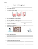 Quick and Easy Matter and Energy Quiz Grade 5 Ontario Curriculum